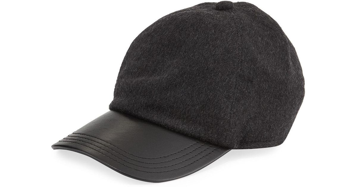Lyst - Neiman Marcus Men s Cashmere And Leather Baseball Hat in Gray for Men 5aaa9586870