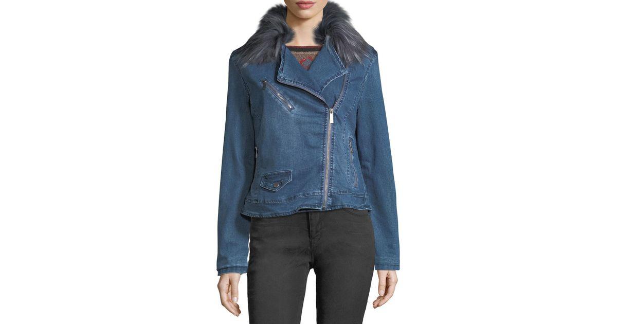 46aa2b00317a Lyst - Nanette Nanette Lepore Faux-fur-collar Denim Moto Jacket in Blue