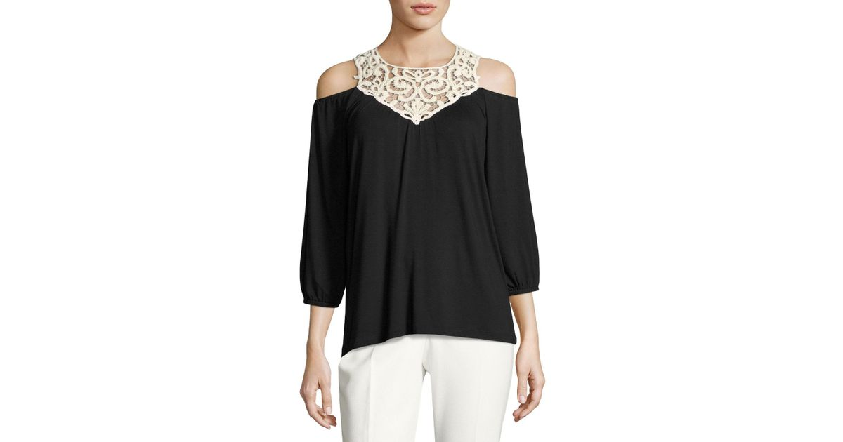 fc9d74e6ee43e9 Lyst - Neiman Marcus Lace-bib Cold-shoulder Top in Black