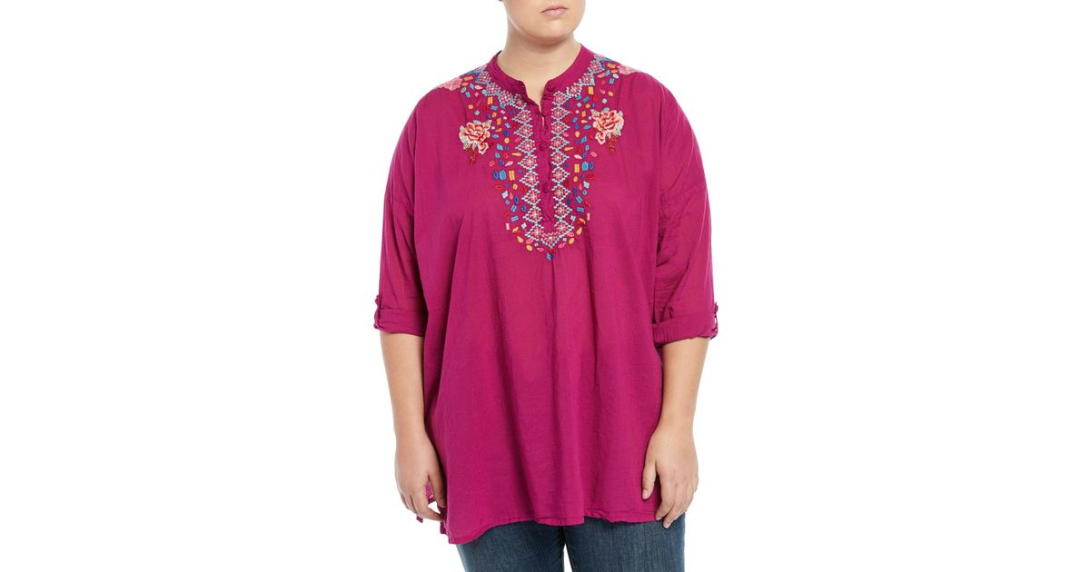 9ae87f659315c Lyst - Johnny Was Plus Gemstone Embroidery Long-sleeve Blouse in Red