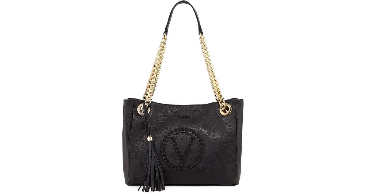 ff15bee5b6d Lyst - Valentino By Mario Valentino Luisa Rock Dollaro Leather Shoulder Tote  Bag in Black