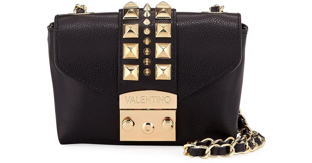 2bcb9c289e1 Valentino By Mario Valentino Paulette Palmellato Leather Crossbody Bag -  Golden Hardware in Black - Lyst