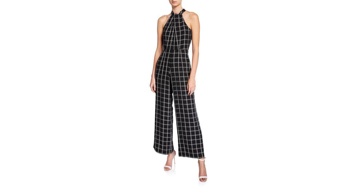 88d3bd61142 Lyst - Julia Jordan Wide-leg Halter Windowpane Jumpsuit in Black