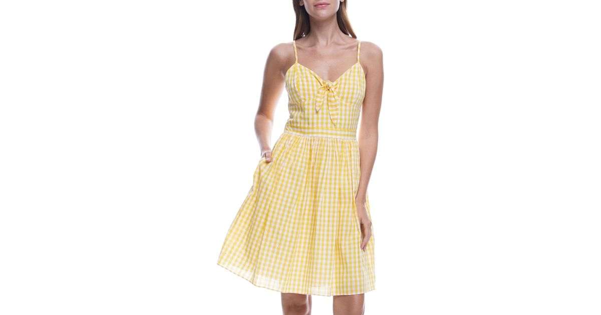 93ae47279d36 English Factory Shirred Cotton Gingham Dress With Bow Detail in Yellow -  Lyst