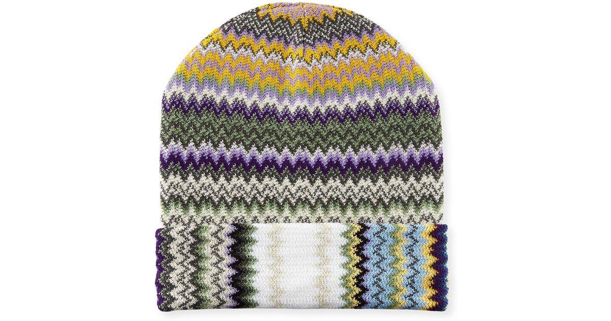 Lyst - Missoni Zigzag Wool-blend Beanie Hat 03d1595dd0d5