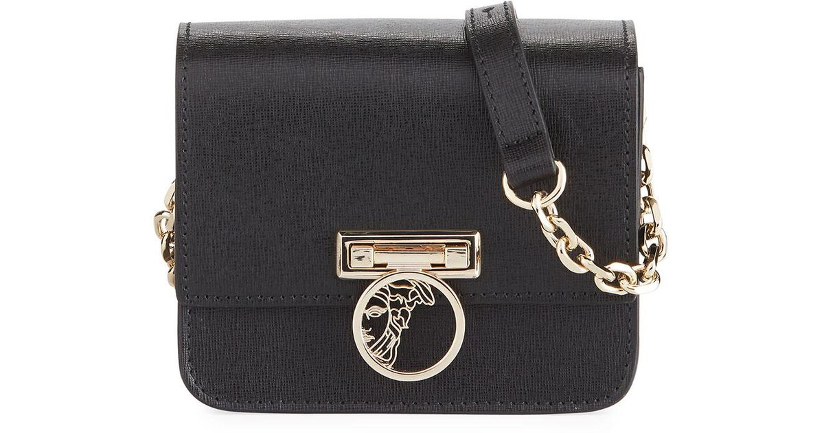 d98d23aa0ea3 Lyst - Versace Small Saffiano Leather Crossbody Bag With Medusa in Black