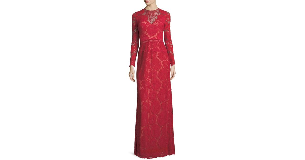 Lyst tadashi shoji long sleeve lace illusion applique evening gown