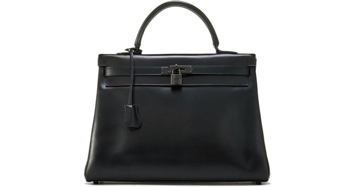 38917c2756e7 Lyst - Hermès Vintage Kelly 35 Chevre Satchel Bag in Black