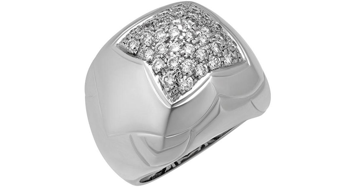 Bvlgari Estate 18k White Gold Diamond Pyramid Ring, Size 6.25