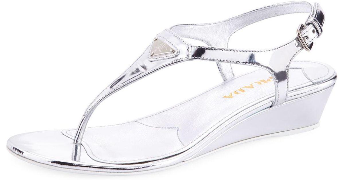 87434211617 Lyst - Prada Metallic Patent Demi-wedge Thong Sandal in Metallic