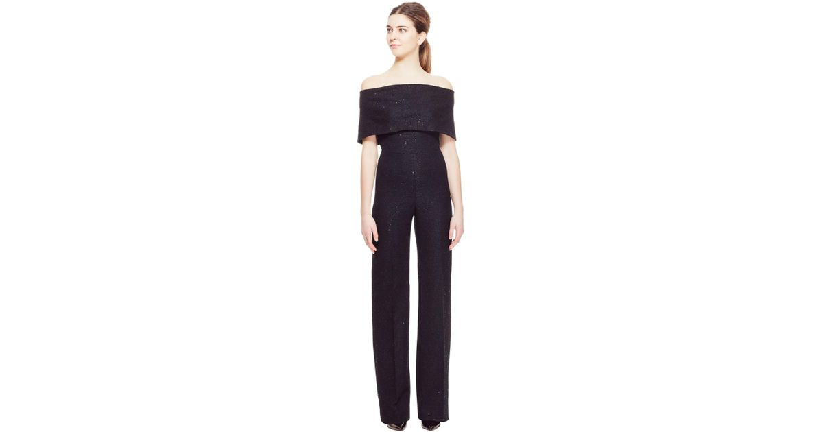 b6847ca8b02 Lyst - Lela Rose Sequin Embroidered Tweed Off The Shoulder Jumpsuit in Black