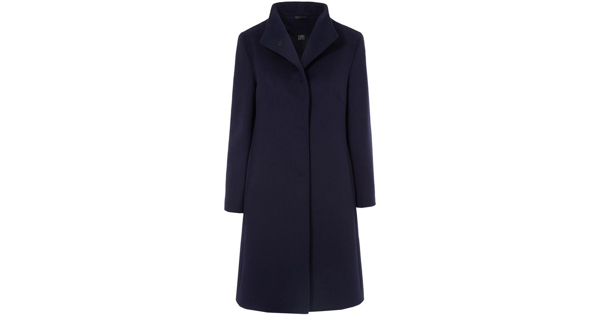 8f151cd131e Lyst - Cinzia Rocca High Neck Asymmetric Coat in Blue