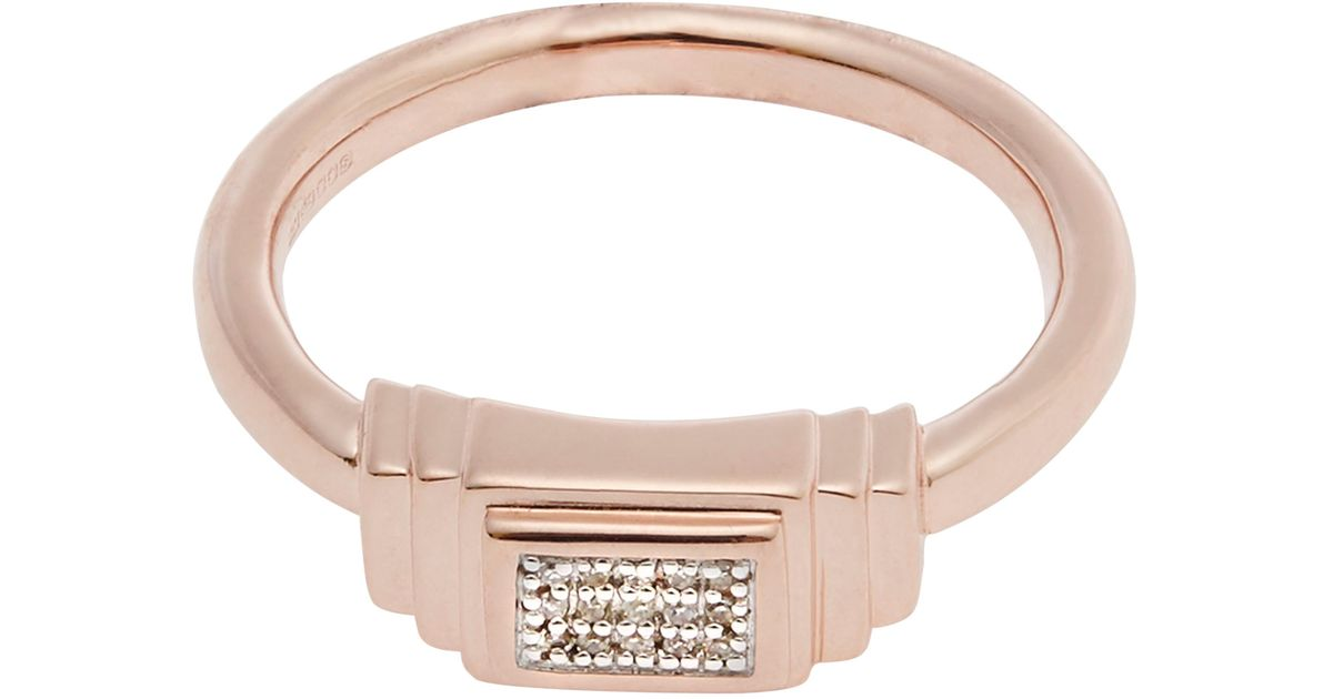 Lyst monica vinader rose gold plated baja deco diamond ring for Deco maison rose gold