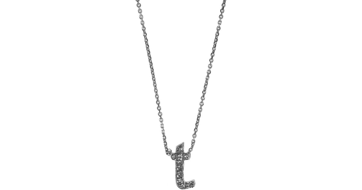 lyst kc designs white gold diamond letter t necklace in metallic