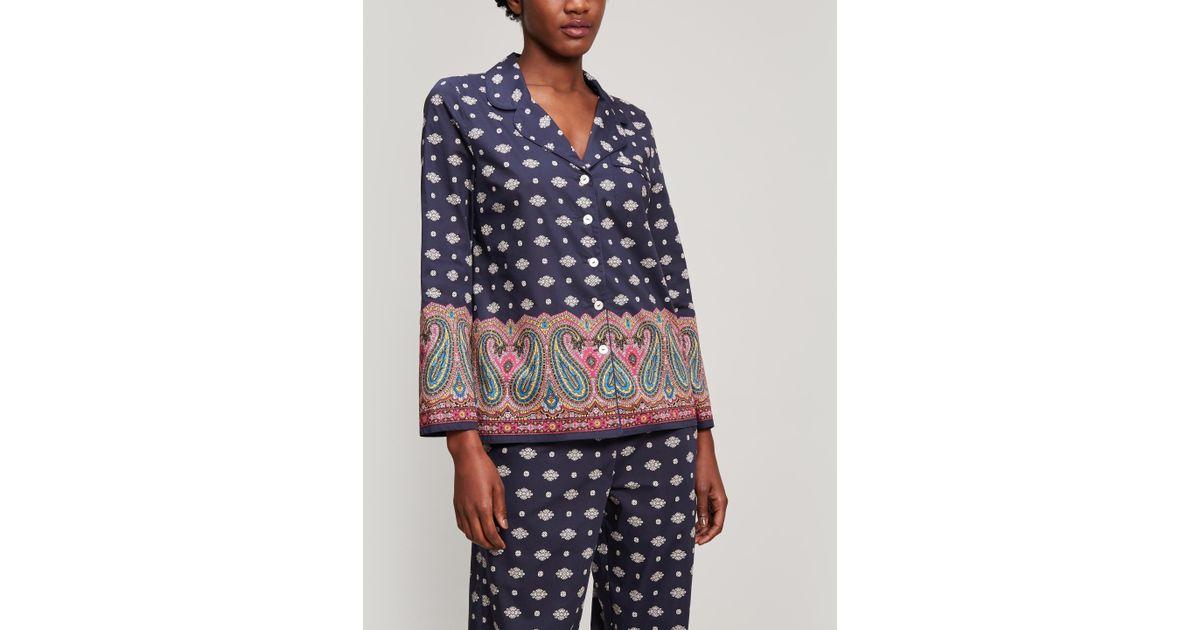 c89df71f60a Lyst - Liberty Persia Tana Lawn Cotton Long Pyjama Set in Blue