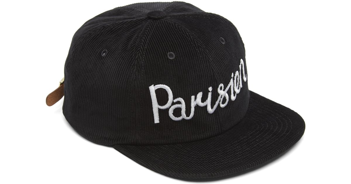 Lyst - Maison Kitsuné Cord Parisien Baseball Cap in Black for Men 0f53ce95113