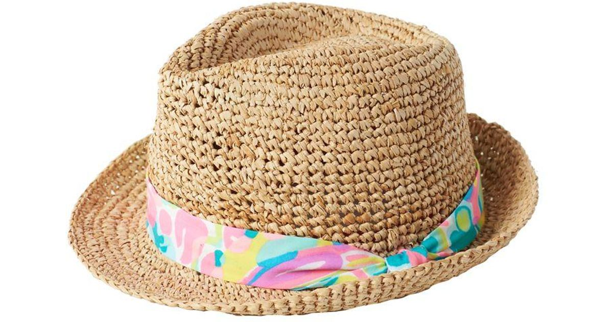 b10588e4ae Lilly Pulitzer Poolside Fedora Hat in Natural - Lyst