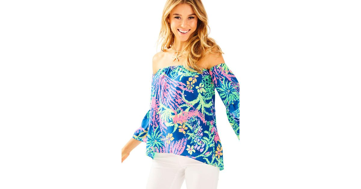 258e1976647199 Lyst - Lilly Pulitzer Sanilla Silk Off The Shoulder Top in Blue