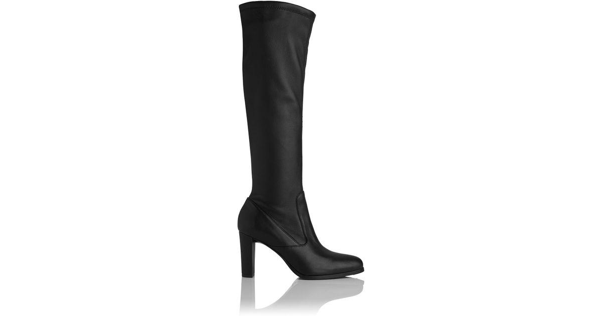 dead104ef56 L.K.Bennett Marietta Black Stretch Leather Knee Boots in Black - Lyst