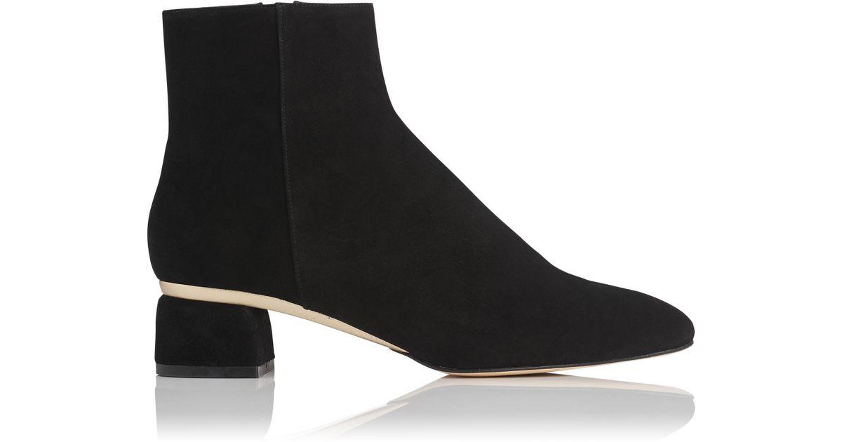 ebc105f4ec5 L.K.Bennett Noah Black Gold Suede Ankle Boots in Black - Lyst