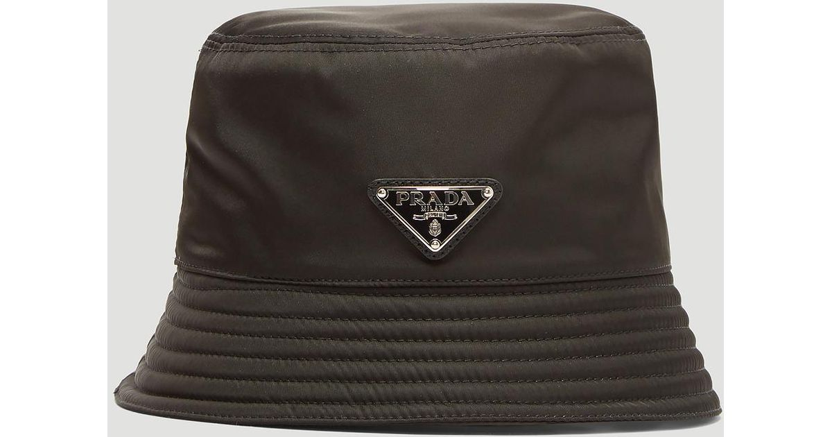 ad48325c60319 Prada Tessuto Triangolo Nylon Bucket Hat in Black - Lyst