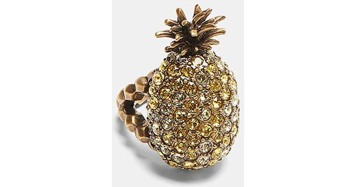 c4927c737 Gucci Crystal-studded Pineapple Ring In Gold in Metallic - Lyst