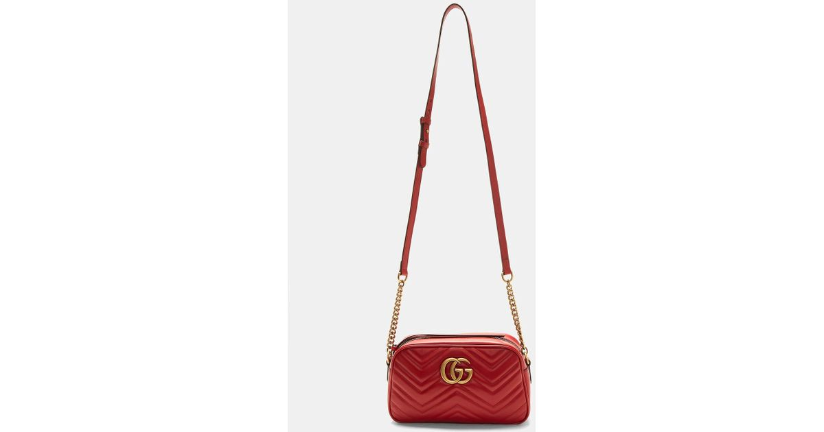 99ccb0e776afd9 Gucci Gg Marmont Matelassé Small Shoulder Bag In Red in Red - Lyst
