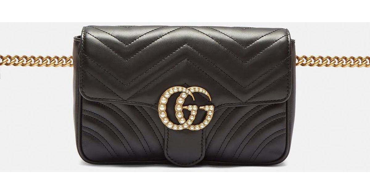 b2043db41394 Lyst - Gucci Marmont 2.0 Gg Pearl Bag In Black in Black