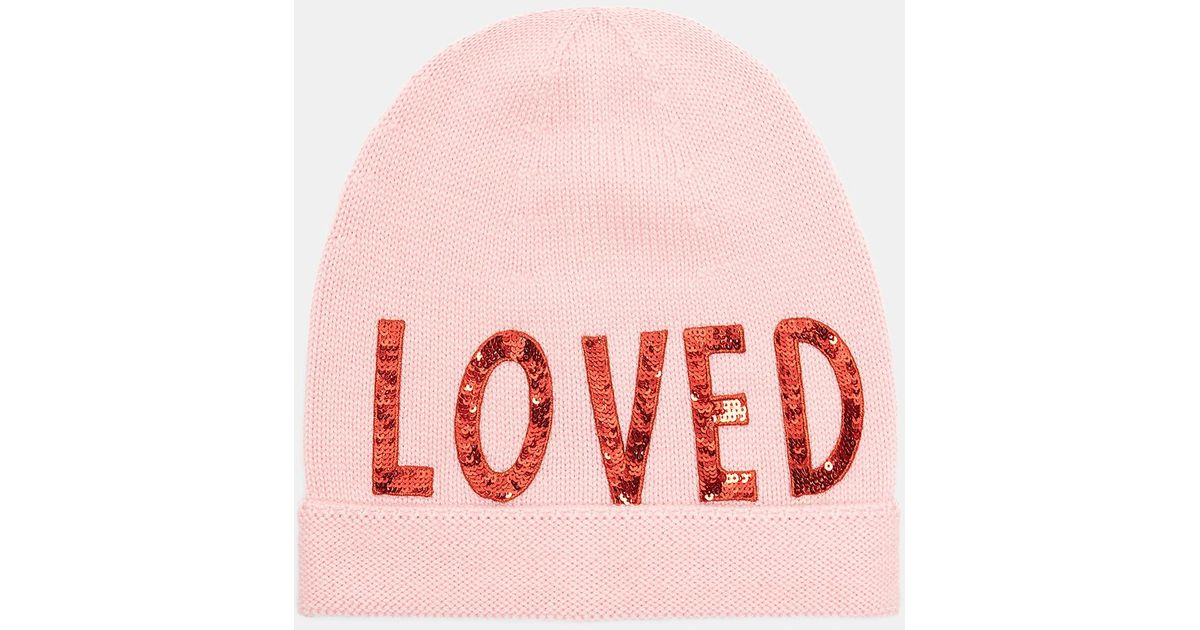 Lyst - Gucci Sequin Embroidered Loved Knit Hat In Pink in Pink 52690c13a3d
