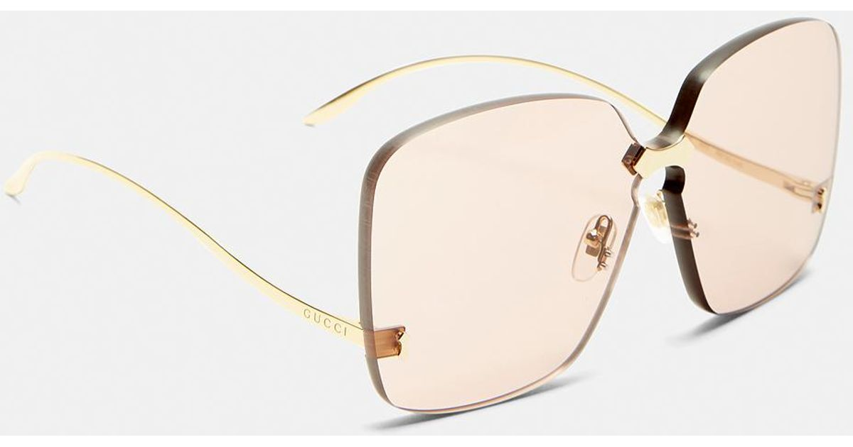 24ac3feb227 Lyst - Gucci Square Frameless Gold Arm Sunglasses In Pink in Metallic