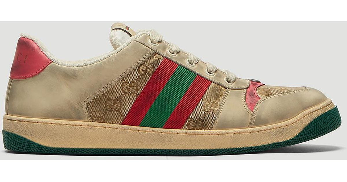 abb78fa4b44 Lyst - Gucci Dirty Screener GG Sneakers In White in White for Men