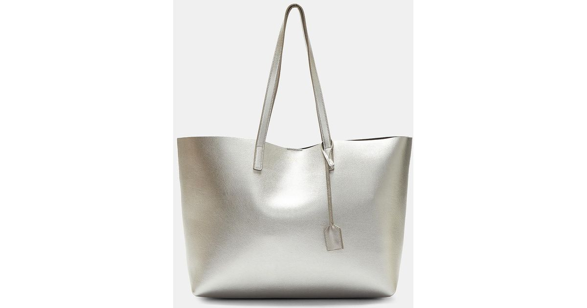 eb6742812b Saint Laurent Large Shopping Tote Bag In Silver in Metallic - Lyst