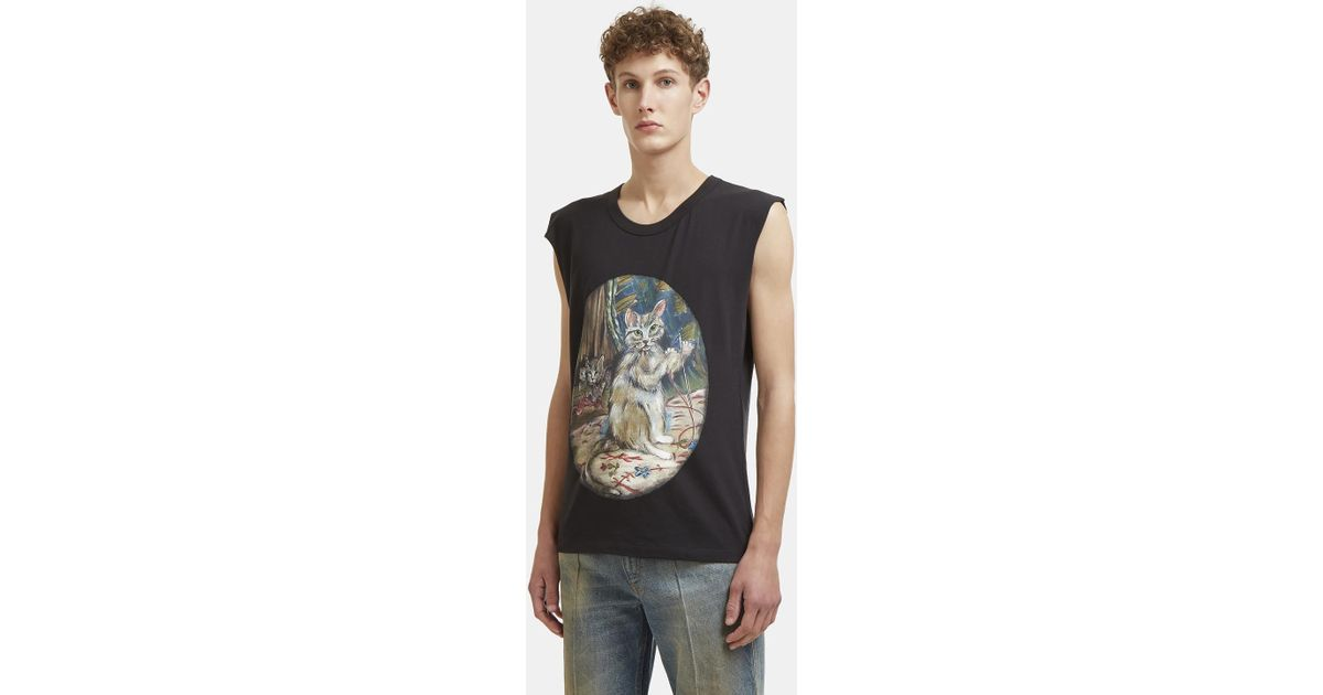 12745ed7636 Lyst - Gucci Cat Print Jersey Sleeveless T-shirt In Black in Black for Men