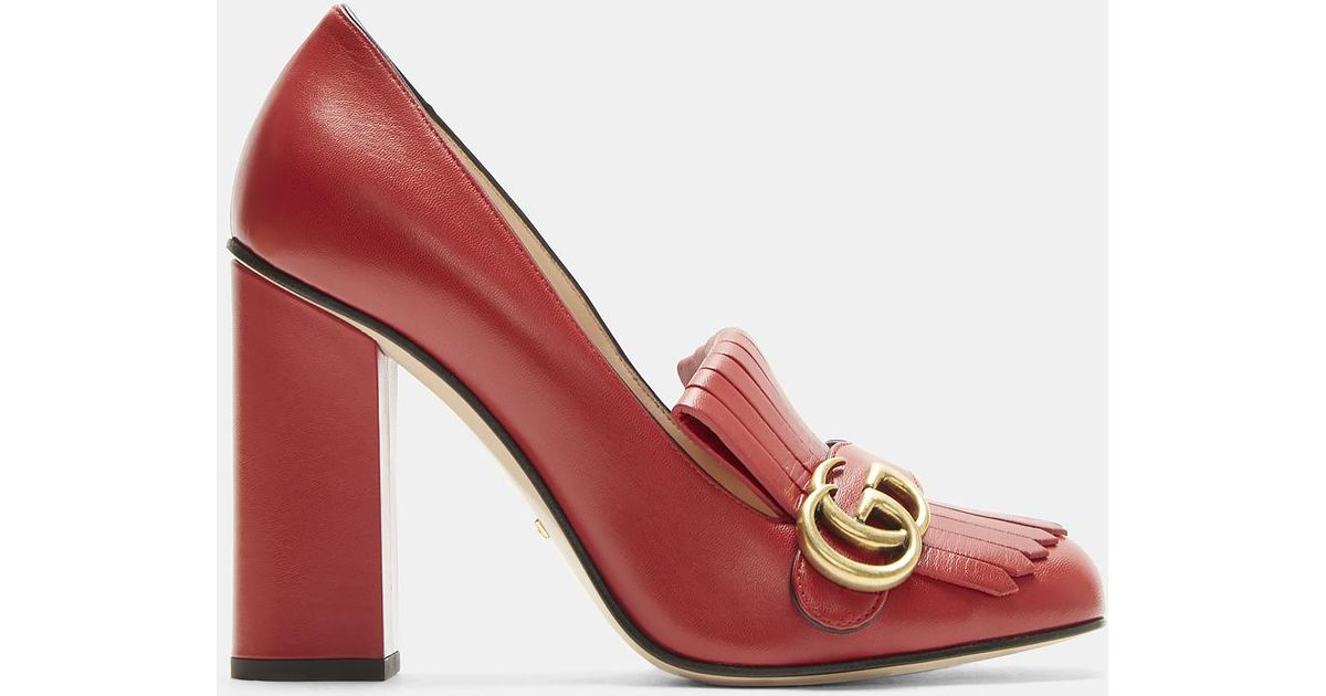 a456ccbf34c8 Gucci GG High-heel Fringed Marmont Pumps In Red in Red - Lyst