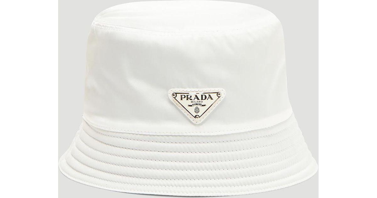 Prada Nylon Logo Bucket Hat In White in White for Men - Lyst 4b08684ebb0
