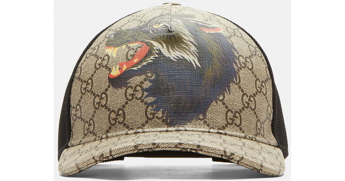 96aff8fcf0a1 Gucci Gg Wolf Baseball Cap In Brown in Brown for Men - Lyst