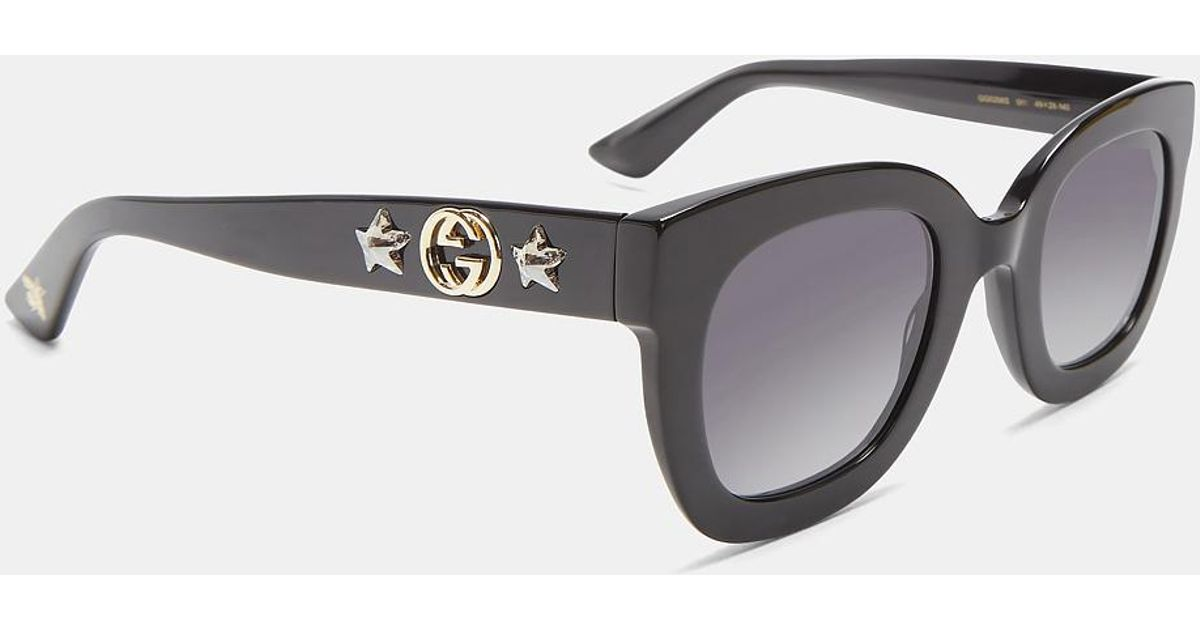 8e914b69c5 Lyst - Gucci Round Frame Star Sunglasses In Black in Black