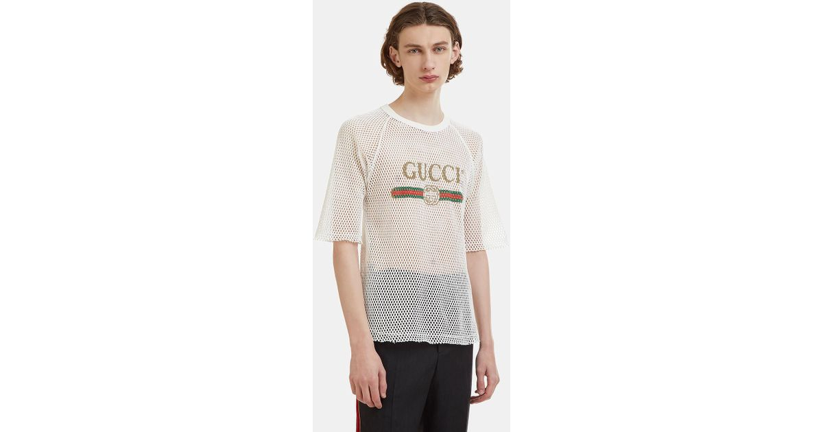 dd61ac1a9 Gucci Fake Logo Mesh T-shirt In White in White for Men - Lyst