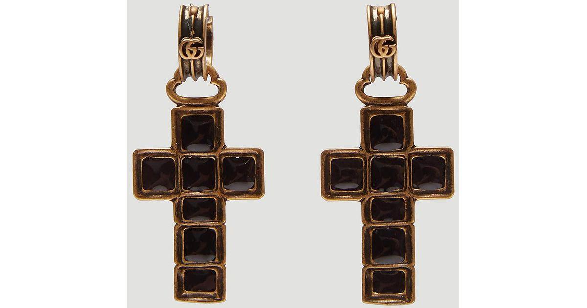 3db8f62df45 Lyst - Gucci Cross Pendant Earrings In Black in Black