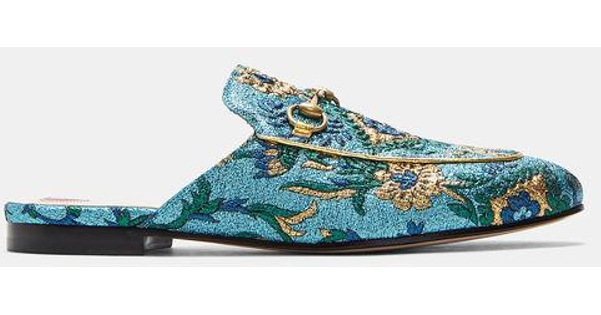 9d8794611 Gucci Women's Princeton Lamé Brocade Horsebit Loafers In Blue in Blue - Lyst