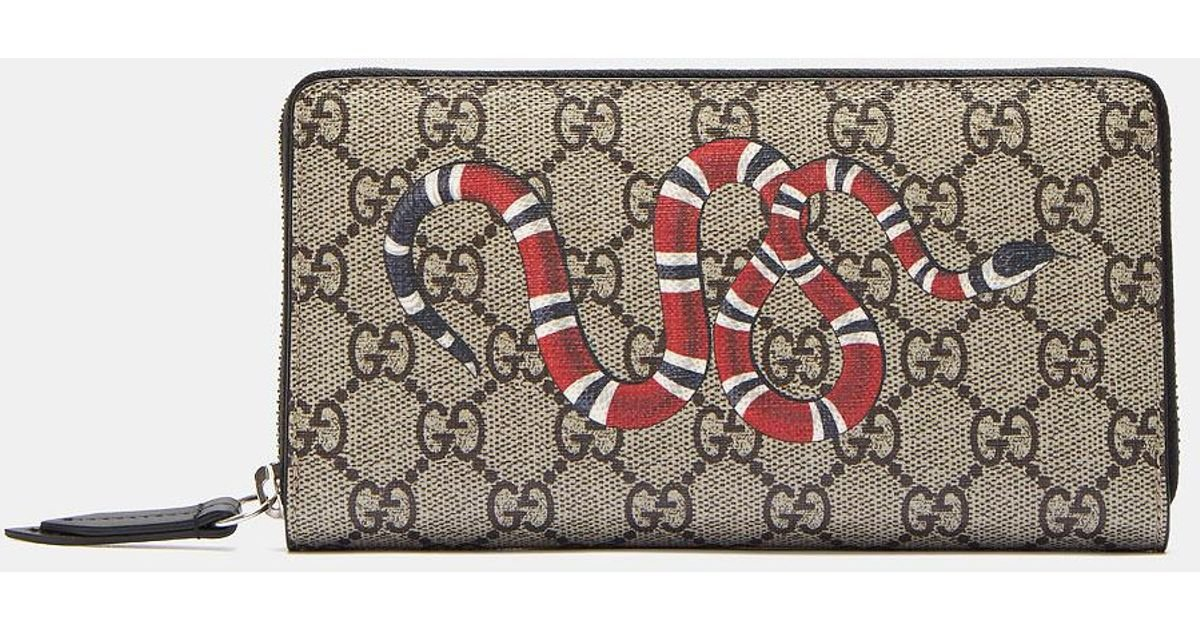 e5147b4126be Gucci Snake Print GG Supreme Zip Around Wallet for Men - Lyst