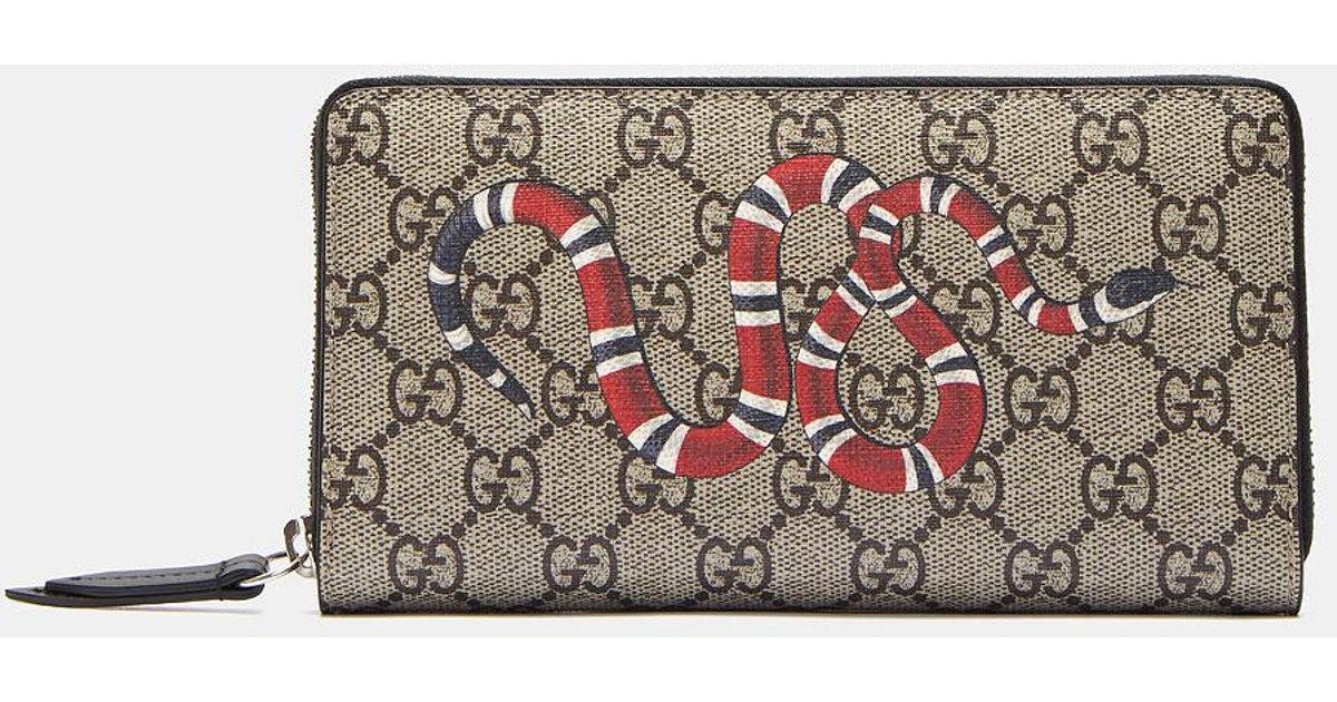 29c276c928db Gucci Snake Print GG Supreme Zip Around Wallet for Men - Lyst