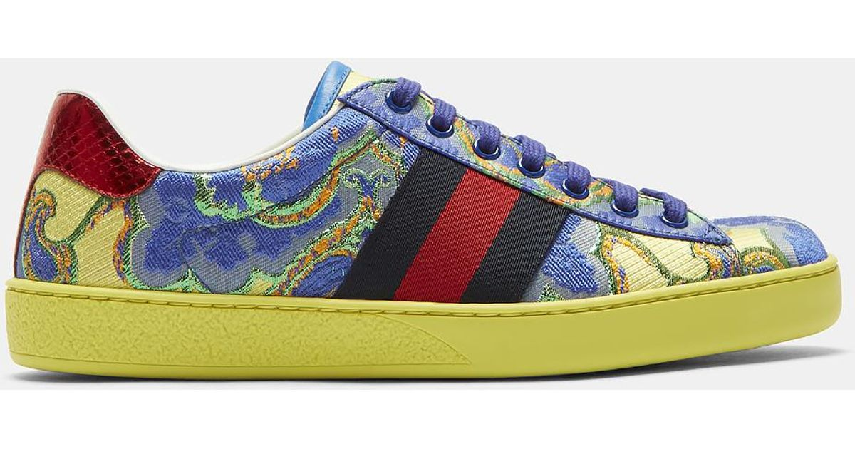 79ccdf4e1 Gucci Men's Metallic Jacquard Sneakers In Yellow And Blue in Yellow for Men  - Lyst