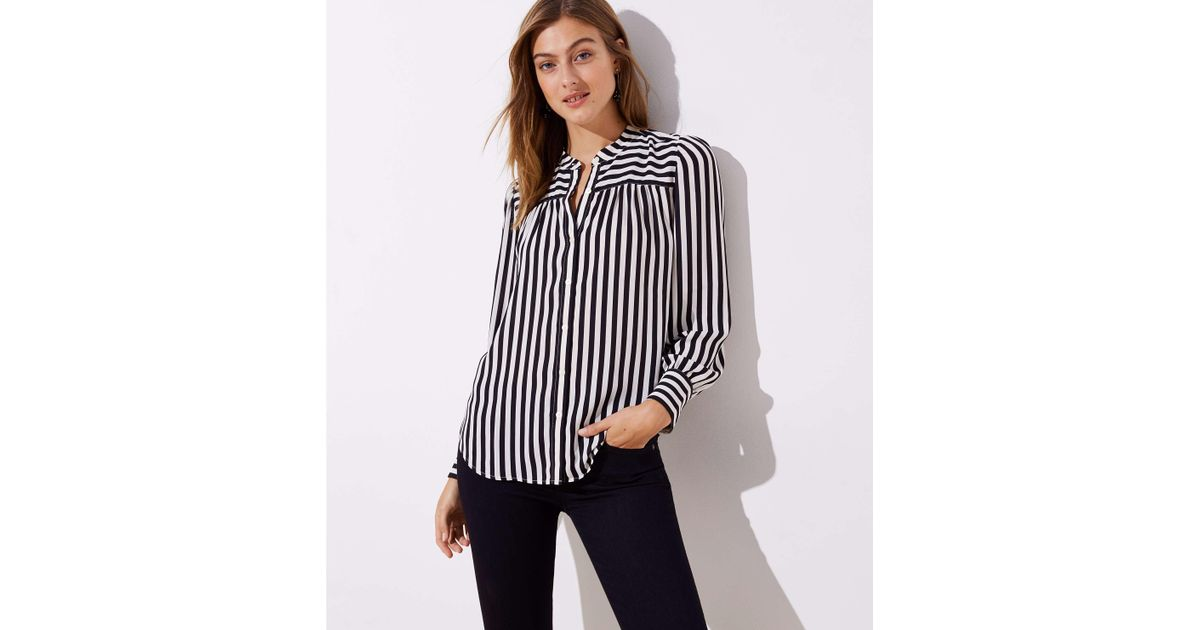 3ea1d4ccdd1a9d Lyst - LOFT Mixed Stripe Puff Sleeve Blouse in Black