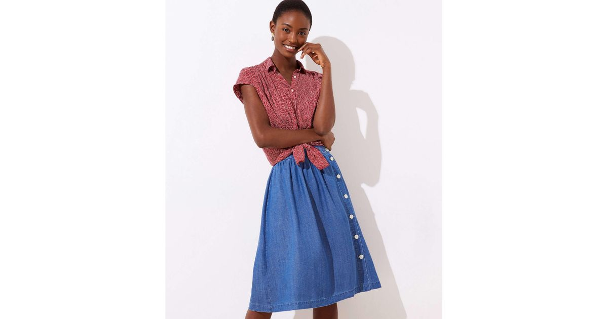 64f7bd47c3428b LOFT Side Button Chambray Skirt in Blue - Lyst