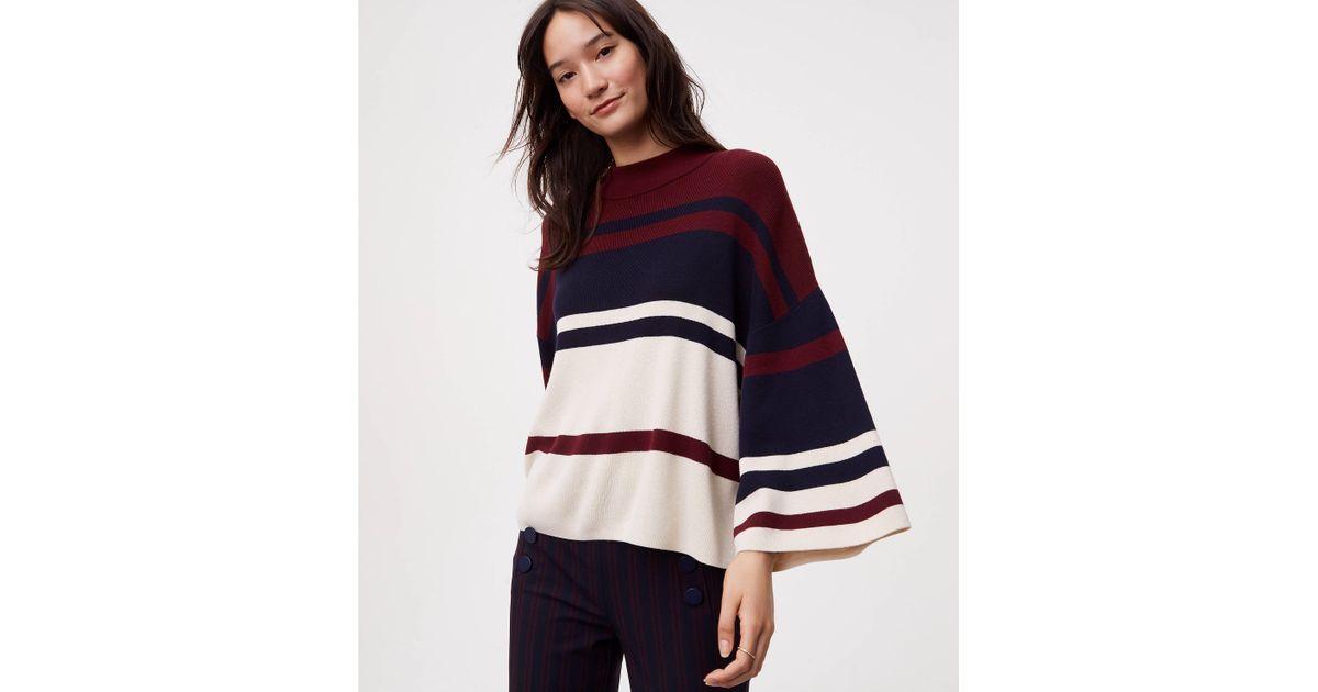 c3aedef1f7 Lyst - LOFT Striped Drop Shoulder Sweater