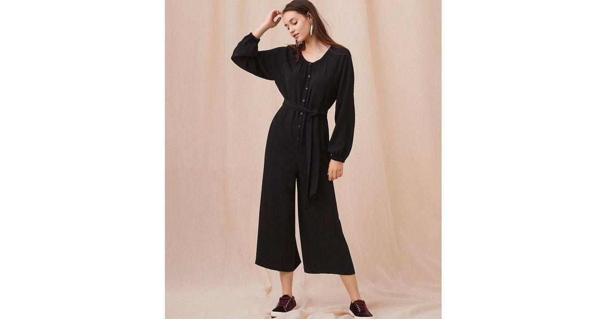 1d66ed32d25 Lyst - LOFT Lou   Grey Long Sleeve Jumpsuit in Black