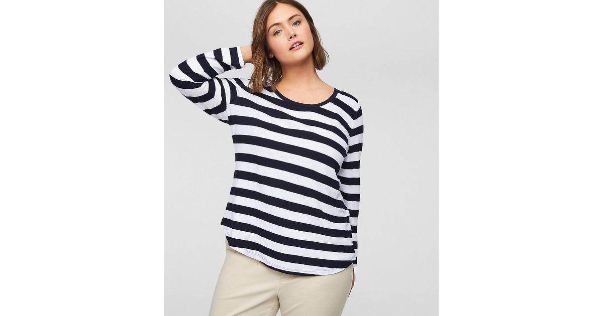 0b40604b2f8d1 Lyst - LOFT Plus Striped Shirttail Tee in Blue