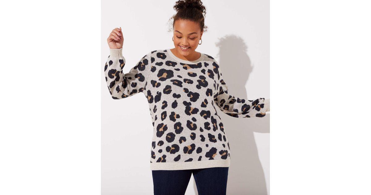 1bc5ecf85ad Lyst - LOFT Plus Leopard Jacquard Sweater - Save 36%
