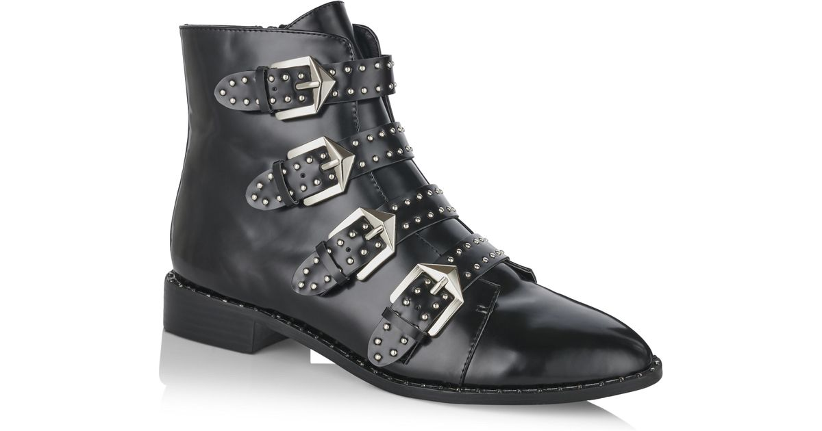 3756ab7ab06 Long Tall Sally - Black Large Size Lts Storm Studded Ankle Boot - Lyst